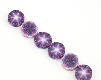 Pink and purple kaleidoscope flat and round beads, unique beads pattern, Set of 6