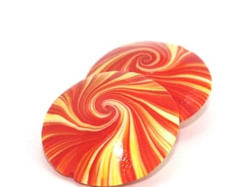 Swirl lentil Beads, Polymer Clay beads in orange, yellow and white, unique pattern, Set of 2