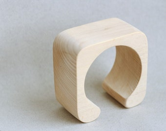 45 mm Wooden cuff  unfinished square with break - natural eco friendly fe45l