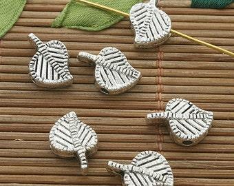 40pcs dark silver tone leaf space bead h3501