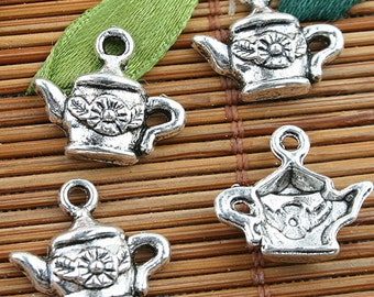 Alloy metal Tibetan Silver color teapot design charms 40pcs EF0131
