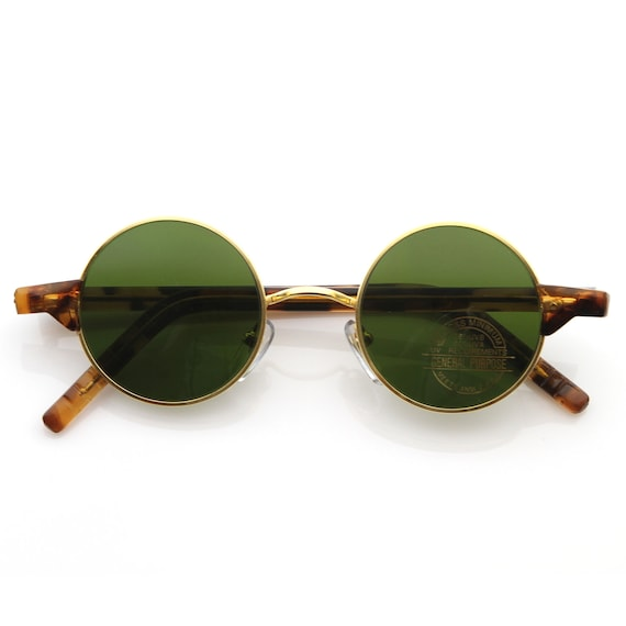 Vintage Eyewear Lennon Inspired Deadstock Small Round Frame Sunglasses with Green Lens