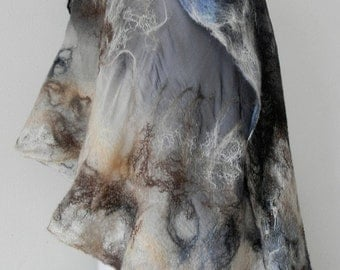 nuno felted silk scarf, shawl DERSU UZALA,handmade art to wear, silk wool shawl, 100% eco fashion by Kantorysinska