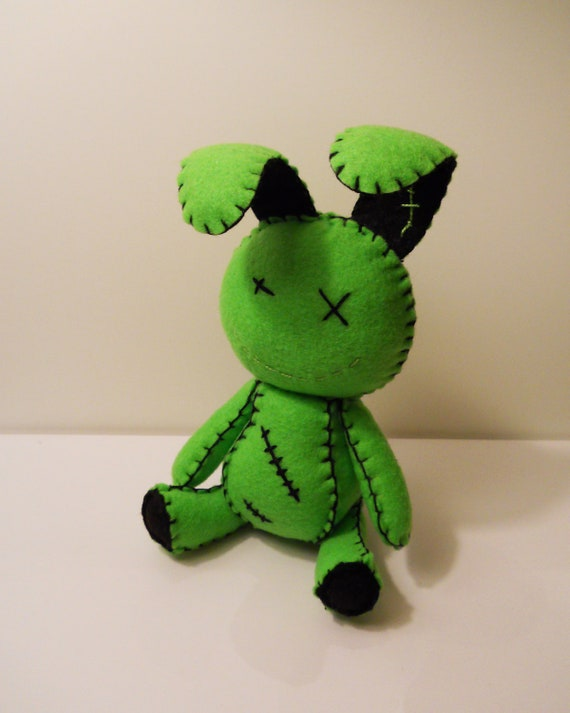 Felt little goth zombie green bunny rabbit plush stuffed toy