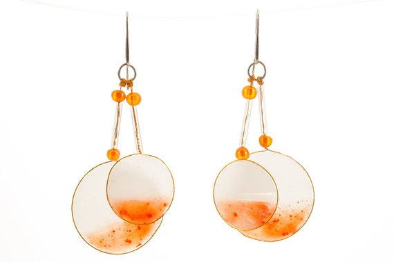 Orange earrings, handmade unique dangle earrings, polymer clay jewerly - OOAK