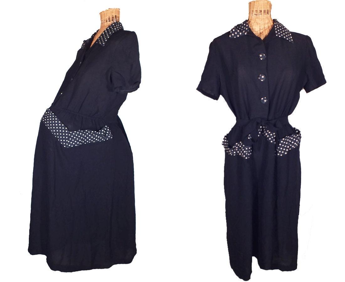 1950s Maternity Dress Rare Black Peplum Dress And Navy Blue