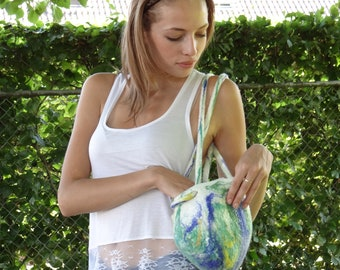 Tote, handbag, handmade felt, natural white with green, blue and yellow. Mothersday gift.