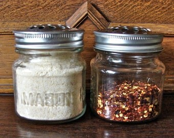 Handmade Mason Jar Shaker Set With 8 Oz Square Mason Jars - Perfect for Parmesan Cheese And Red Pepper