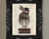 """Dictionary Print: - """"Wise Hipster Owl """" - up-cycled vintage book page, whimsical, geek gift, gift for her, steampunk art"""
