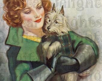 Marvelous Flapper and Her Faithful Friend Doggy Dog VINTAGE  Illustration. Deco Digital Download