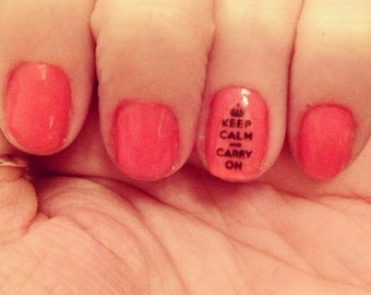 Keep Calm and Carry On Nail Decals