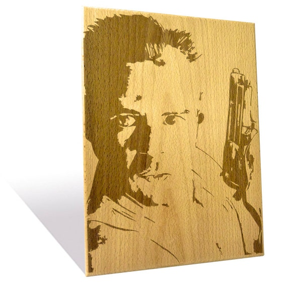 Bruce Willis portrait etched on a Wooden Plaque
