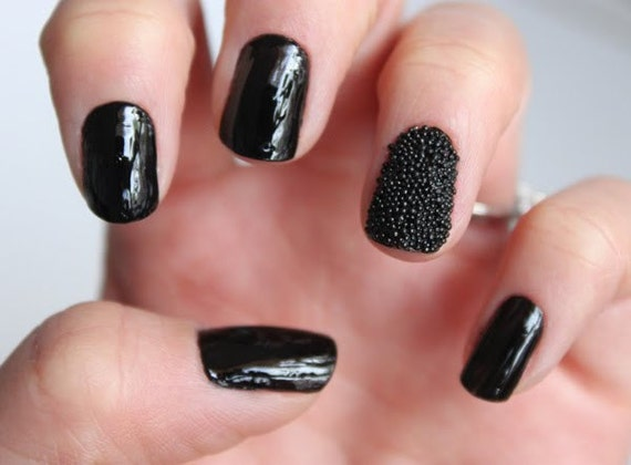 how to put caviar beads on nails