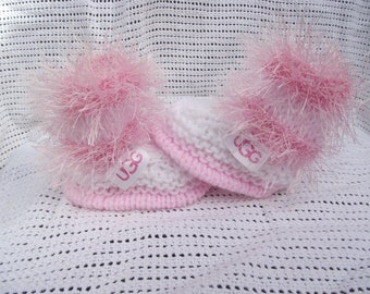 baby boots 0/3 months decorated with designer ribbon
