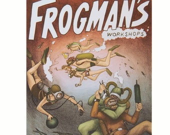 Frogman's - original lithograph with screenprint by Carrie Lingscheit