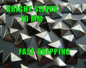 40 Pcs - 10MM DIY Pyramid Flat Back Studs - Bright Silver - Iron On Studs  - Great for All Projects