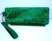Clearance - Green zippered bag - Ready  to Ship