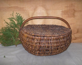 Egg Gathering Basket Imagine a lady in a chicken coop gathering eggs with this basket over her arm.