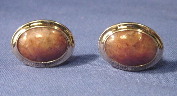 On Sale Vintage Lamode 10k Gold Filled CuffLinks with Polished Agate Setting Signed Now At New Price