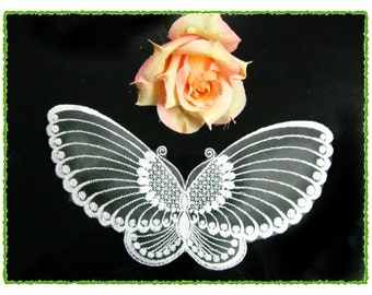 DQ001- 2PCS Lace Butterflies Applique Baby Bridal Trim