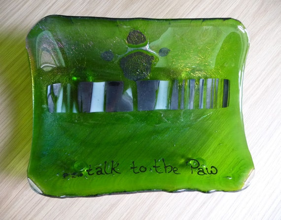 Talk To The Paw Bowl -  Fused Glass Iridescent Fern Green with a Black Paw Print Curved Bowl Gift Bagged