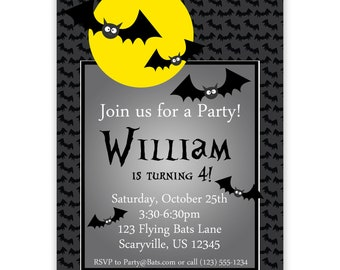 Halloween Invitation - Gray Polka Dots with Scary Black Bats and Moon Personalized Birthday Party Invite - Digital Printable File
