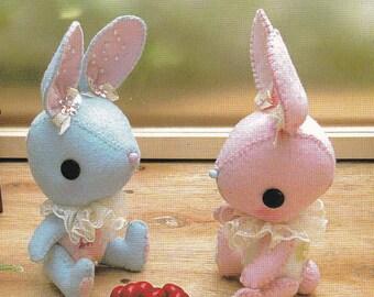 Kawaii Pretty Bunny miniature animal Mascots Stuffed Plush Toy Doll Plushies pdf E PATTERN in Chinese & Template Titles in English