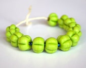 13 Earthy Green Pumpkins Lampwork Beads - jimenastreasures