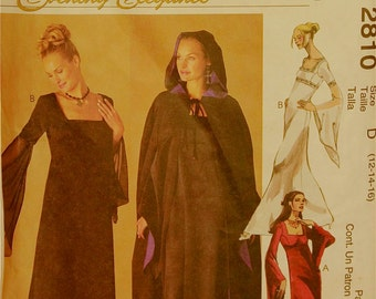 Gothic Gown & Cape - 2000's - McCall's Evening Elegance Pattern 2810 Uncut Sizes 12-14-16 Bust 34-36-38""