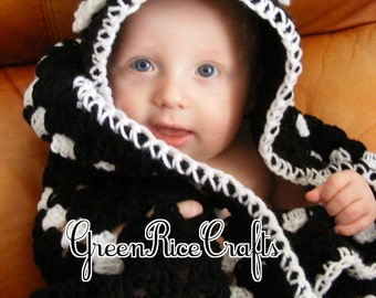 Monster Baby Blanket with Hood for Babies or Toddlers