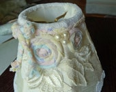 Handmade lampshade-vintage laces,silk,beads,clip on shade, pastel rosettes