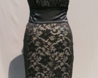 Baylis & Knight Grey Ivory LACE Halter SUGAR Pencil Wiggle Dress Sash Burlesque Dita Pin Up
