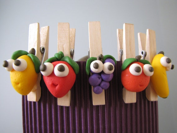 Decorated wooden clips, Polymer Clay decorations, Paper Clips, Staionary, School Office Kitchen supplies, Message holders, Funny Fruit