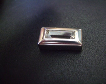 Marked 9.25 Sterling Silver Rhinestone Rectangle Charm