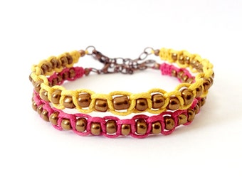 Macrame Bracelet Set, Pink and Yellow, Glass Beads, Beaded Bracelet