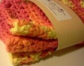 "Crochet cotton dish cloths, 6"" X 8"" Orange, Yellow, Pink. Set of Three."