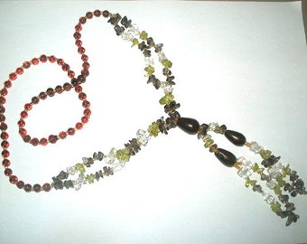 Long Glass Bead Necklace with Tassel Flapper Style Amber Gray & Celadon Colors 27 Inches