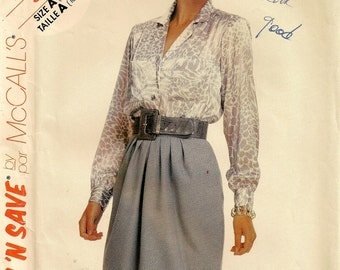 "A Straight Skirt with Front Pleats, & Long Sleeve, Front Button Blouse Pattern for Women: Sizes 10-12-14, Bust 32-1/2"" - 36"" • McCall's 3402"
