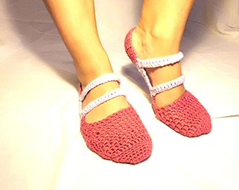 Crochet Slippers Socks House Shoes Pink and White with Straps