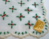 Holiday Hankie, Christmas Hankie, Wedding Handkerchief, Embroidered NWT - VintagebyTeresa