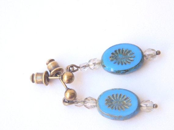 Small Dangle Earrings, Blue Beads, Post Dangle Earrings, Brass Jewelry, Beadwork, Nickel Free