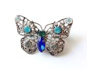 50% off: Vintage Czech Filigree Rhinestone Butterfly Broach