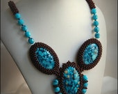 Beaded turquoise brown necklace, fall colors, fall fashion, OOAK