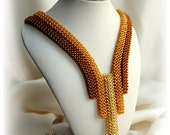 Beaded gold honey brown necklace, seed bead jewelry, OOAK jewelry, fall color, autumn fashion