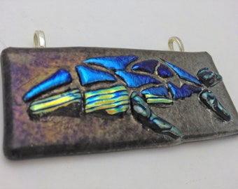 Dichroic Fused Glass Pendant - Humpback Whale Metallic Mosaic