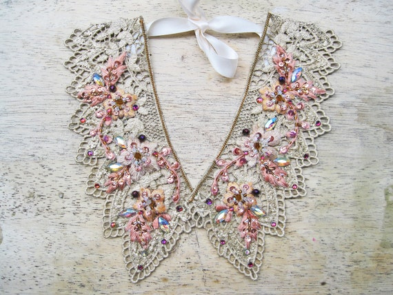 Collar necklace - peter pan collar necklace, embellished collar necklace