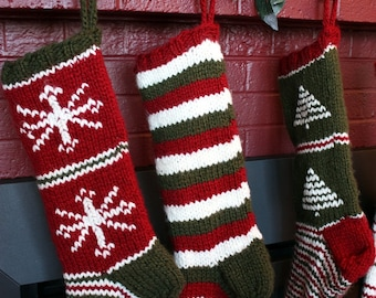 Vintage Christmas Stocking Knitting Pattern Free : Knit Christmas Stocking Pattern