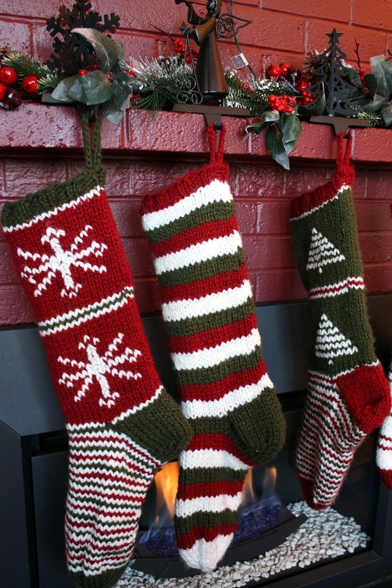 Knit Pattern Christmas Stocking : Knit Christmas Stocking Pattern