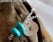 Turquoise Initial Necklace - Personalized Sterling Silver Disc Birthstones - Custom Jewelry, Hand stamped charm