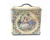 Murray Allen Biscuit Tin, Vintage Tin, Antique Tin Box, Victorian Image Tin, Cottage Chic Tin